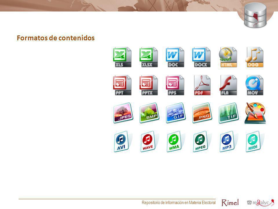 Formatos de contenidos Repositorio de Información en Materia Electoral