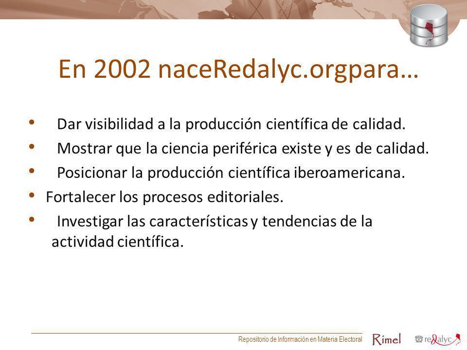 En 2002 naceRedalyc.orgpara… Dar visibilidad a la producción científica de calidad. Mostrar que la ciencia periférica existe y es de calidad. Posicion