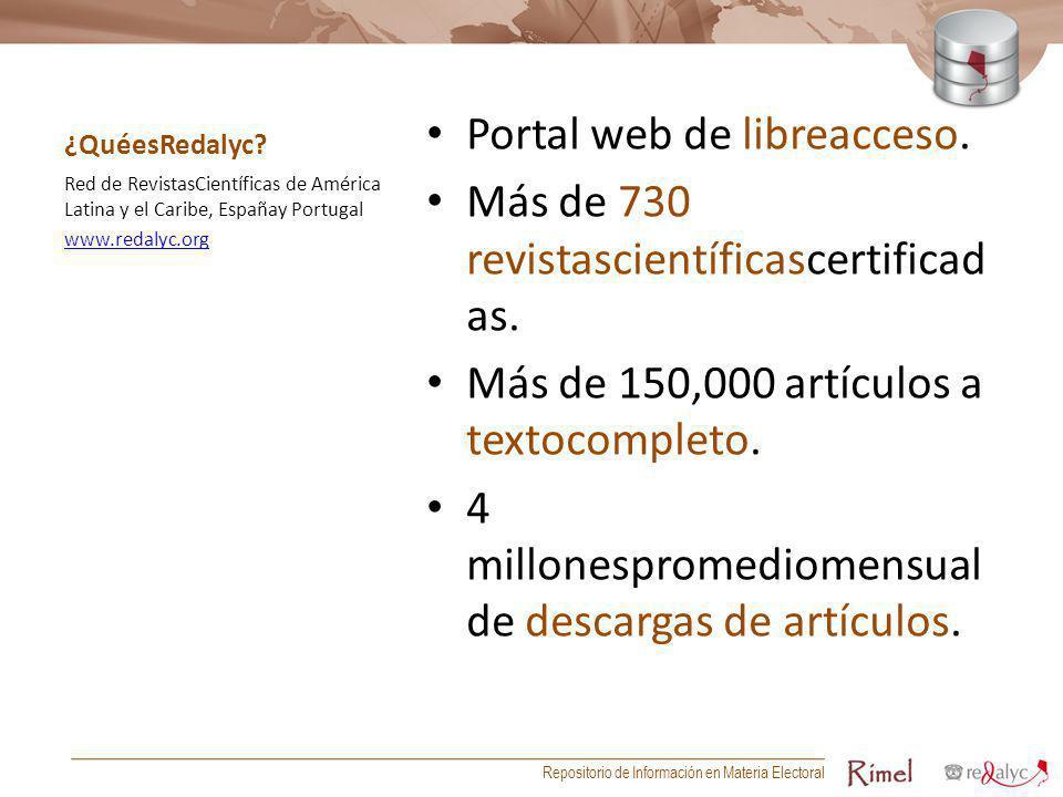 ¿QuéesRedalyc? Portal web de libreacceso. Más de 730 revistascientíficascertificad as. Más de 150,000 artículos a textocompleto. 4 millonespromediomen