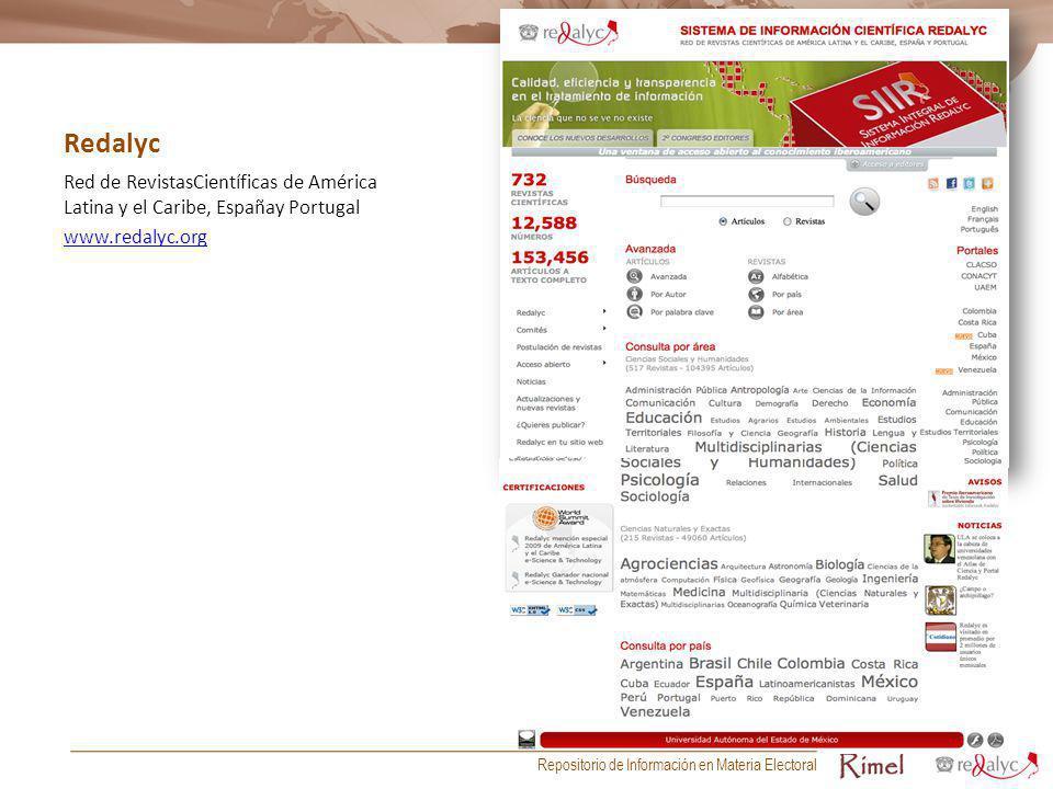 Redalyc Red de RevistasCientíficas de América Latina y el Caribe, Españay Portugal www.redalyc.org Repositorio de Información en Materia Electoral
