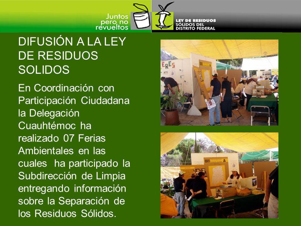 DIFUSIÓN A LA LEY DE RESIDUOS SOLIDOS En Coordinación con Participación Ciudadana la Delegación Cuauhtémoc ha realizado 07 Ferias Ambientales en las c
