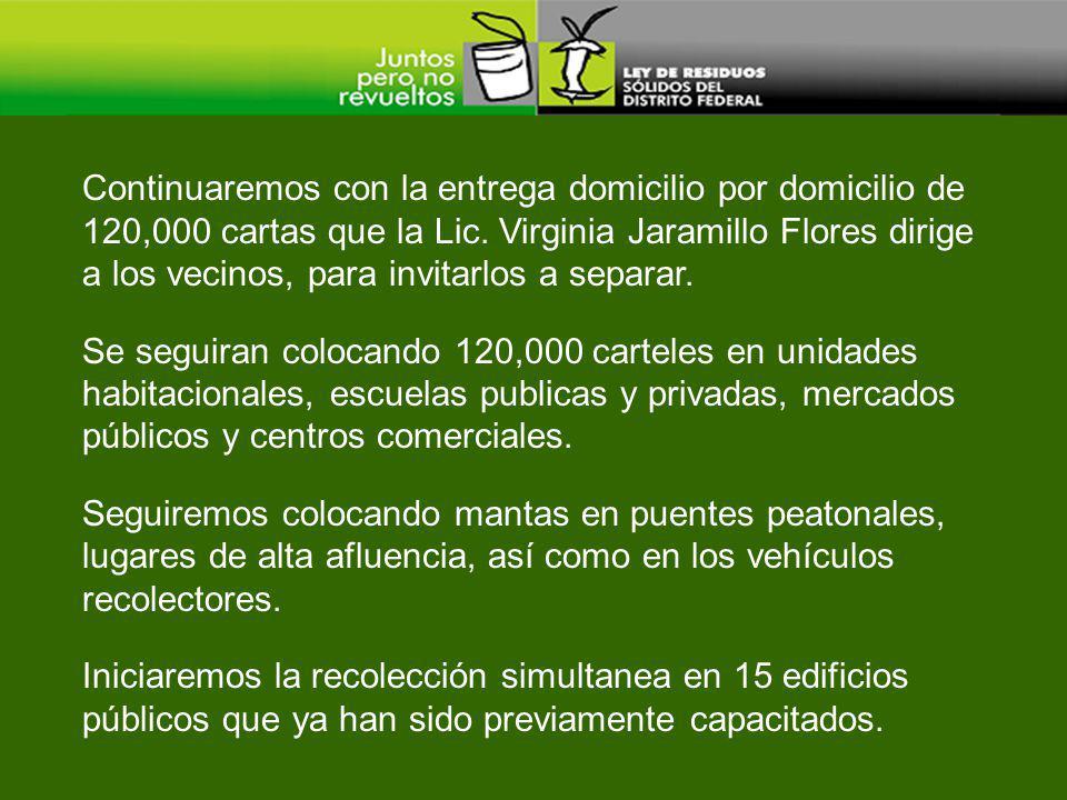 Continuaremos con la entrega domicilio por domicilio de 120,000 cartas que la Lic. Virginia Jaramillo Flores dirige a los vecinos, para invitarlos a s