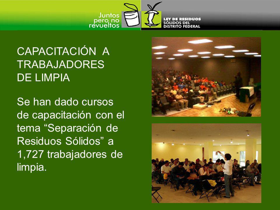 CAPACITACIÓN A TRABAJADORES DE LIMPIA Se han dado cursos de capacitación con el tema Separación de Residuos Sólidos a 1,727 trabajadores de limpia.