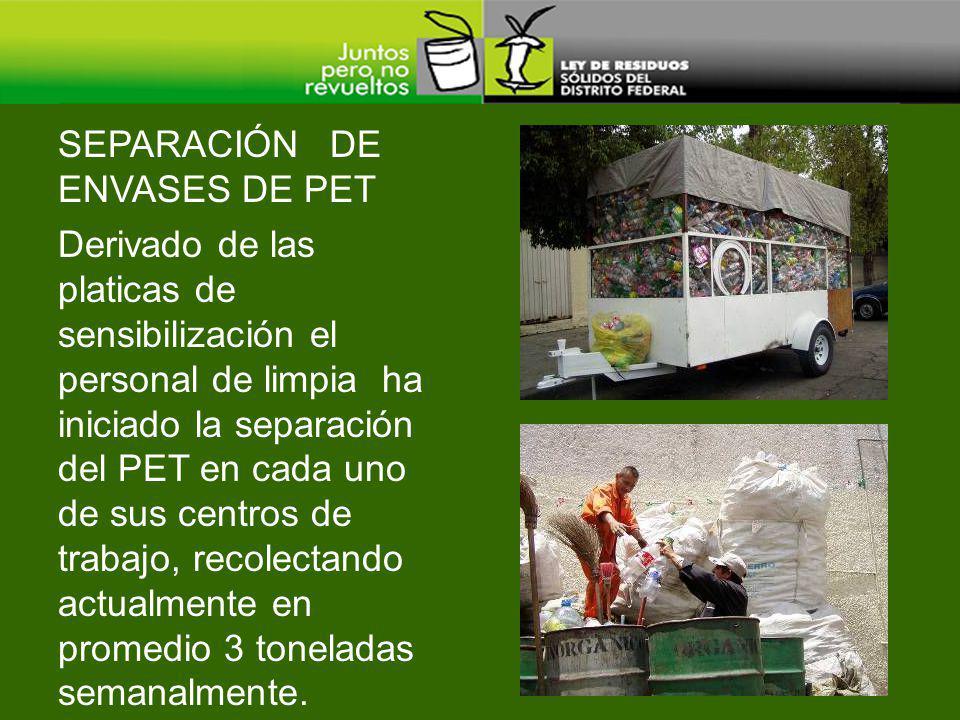 Derivado de las platicas de sensibilización el personal de limpia ha iniciado la separación del PET en cada uno de sus centros de trabajo, recolectand
