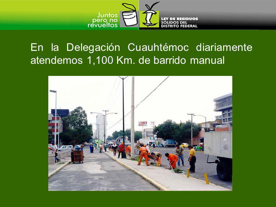 En la Delegación Cuauhtémoc diariamente atendemos 1,100 Km. de barrido manual