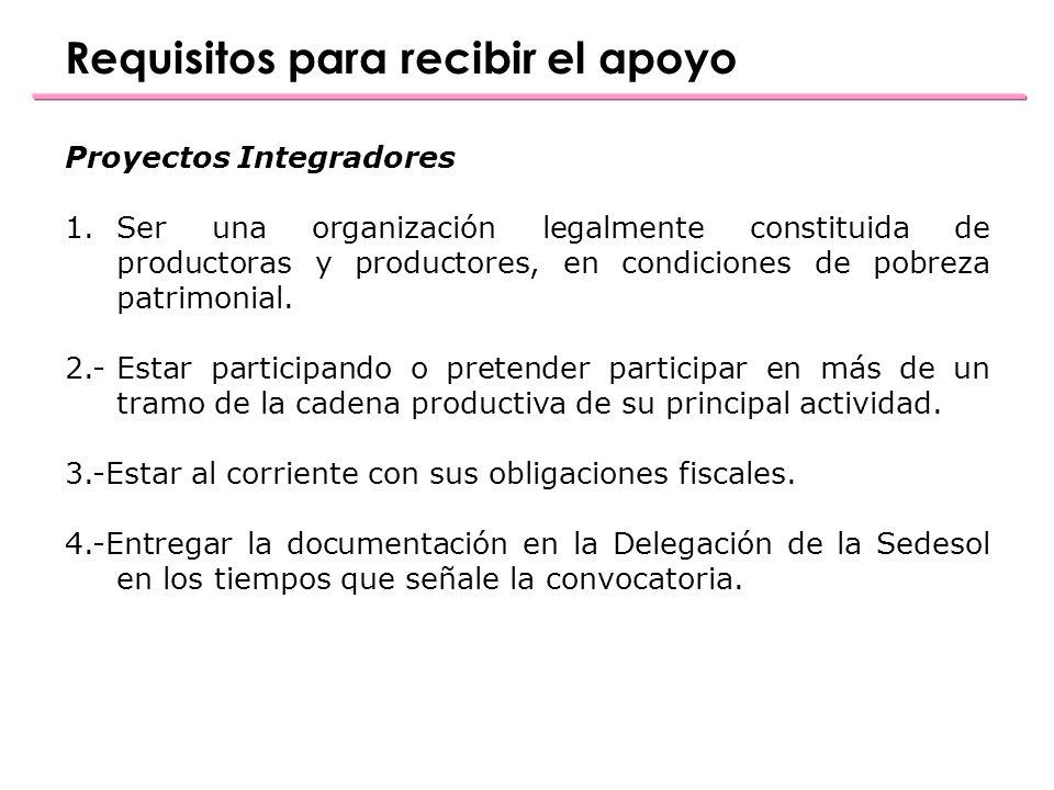 Proyectos Integradores 1.Ser una organización legalmente constituida de productoras y productores, en condiciones de pobreza patrimonial.