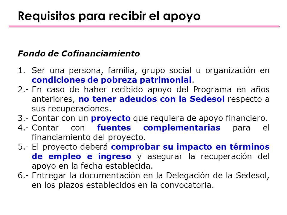 Fondo de Cofinanciamiento 1.Ser una persona, familia, grupo social u organización en condiciones de pobreza patrimonial.
