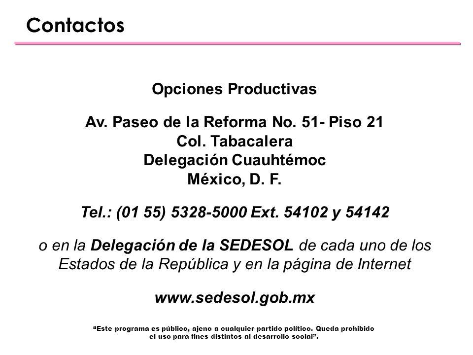 Contactos Opciones Productivas Av. Paseo de la Reforma No.