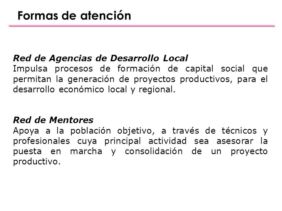 Formas de atención Red de Agencias de Desarrollo Local Impulsa procesos de formación de capital social que permitan la generación de proyectos productivos, para el desarrollo económico local y regional.
