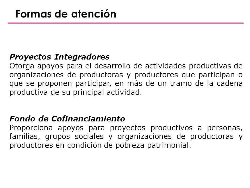 Formas de atención Proyectos Integradores Otorga apoyos para el desarrollo de actividades productivas de organizaciones de productoras y productores que participan o que se proponen participar, en más de un tramo de la cadena productiva de su principal actividad.