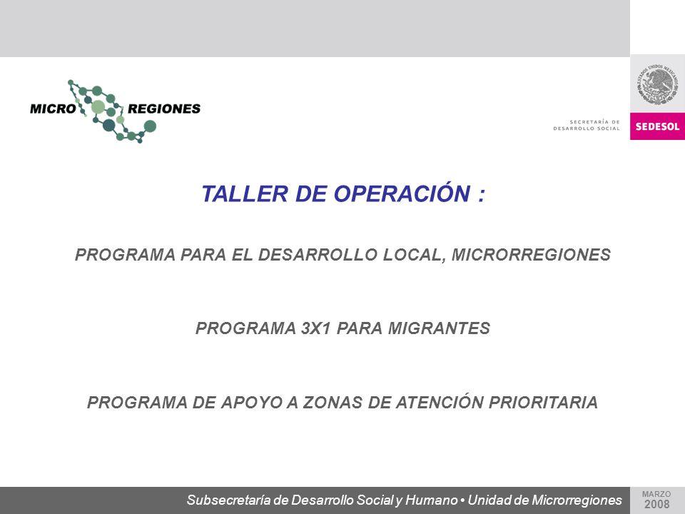 Subsecretaría de Desarrollo Social y Humano Unidad de Microrregiones MARZO 2008 TALLER DE OPERACIÓN : PROGRAMA PARA EL DESARROLLO LOCAL, MICRORREGIONE