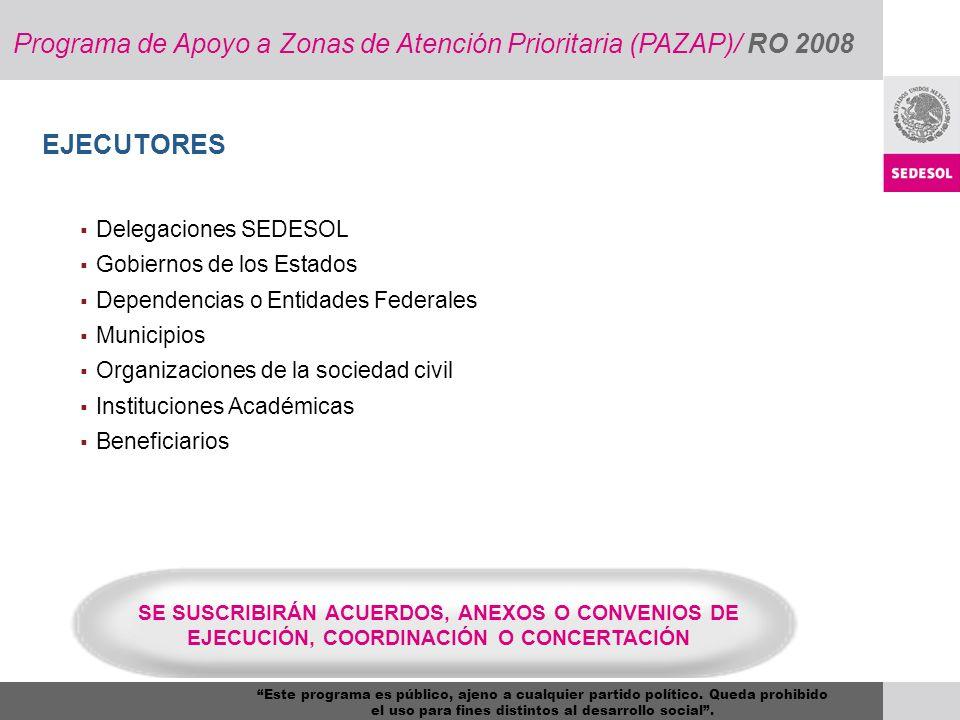 EJECUTORES Delegaciones SEDESOL Gobiernos de los Estados Dependencias o Entidades Federales Municipios Organizaciones de la sociedad civil Institucion