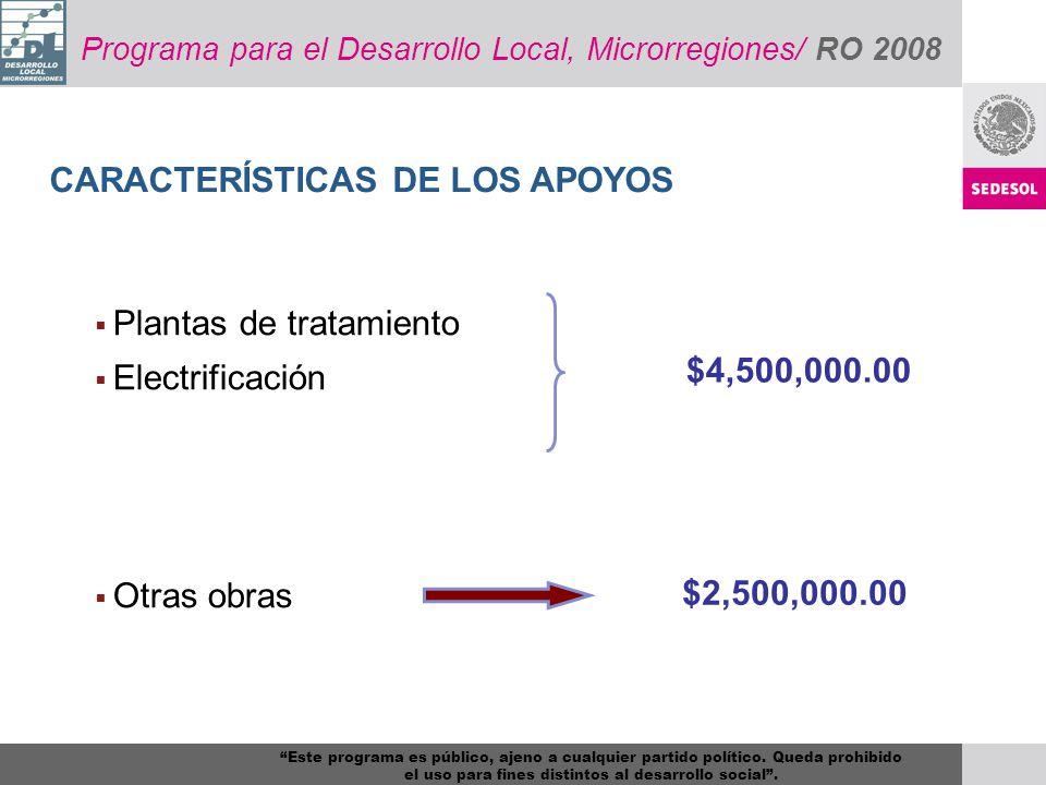 Programa para el Desarrollo Local, Microrregiones/ RO 2008 CARACTERÍSTICAS DE LOS APOYOS Plantas de tratamiento Electrificación Otras obras $4,500,000