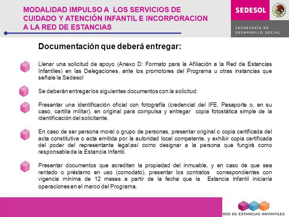 Documentación que deberá entregar: Llenar una solicitud de apoyo (Anexo D: Formato para la Afiliación a la Red de Estancias Infantiles) en las Delegac
