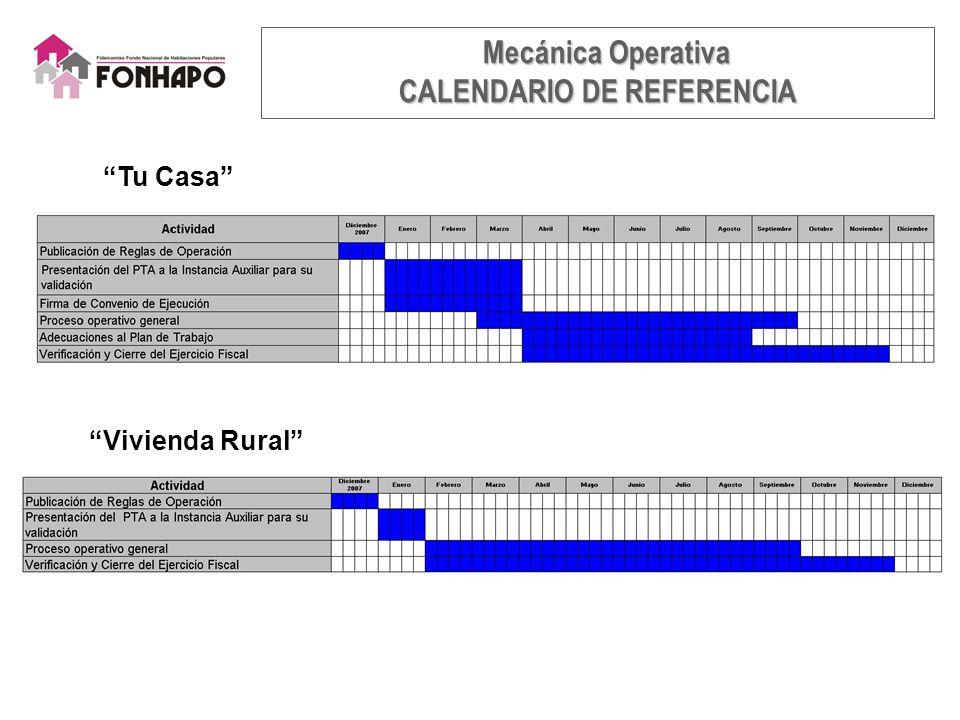 Tu Casa Vivienda Rural Mecánica Operativa Mecánica Operativa CALENDARIO DE REFERENCIA