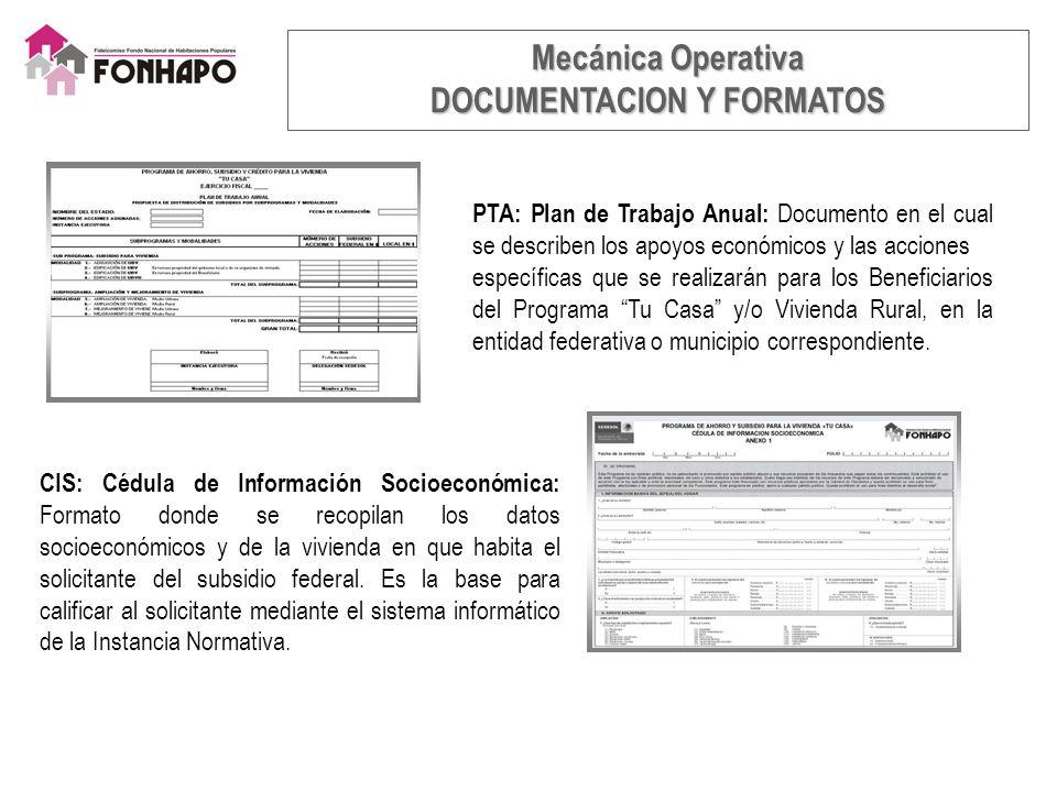 PTA: Plan de Trabajo Anual: Documento en el cual se describen los apoyos económicos y las acciones específicas que se realizarán para los Beneficiarios del Programa Tu Casa y/o Vivienda Rural, en la entidad federativa o municipio correspondiente.