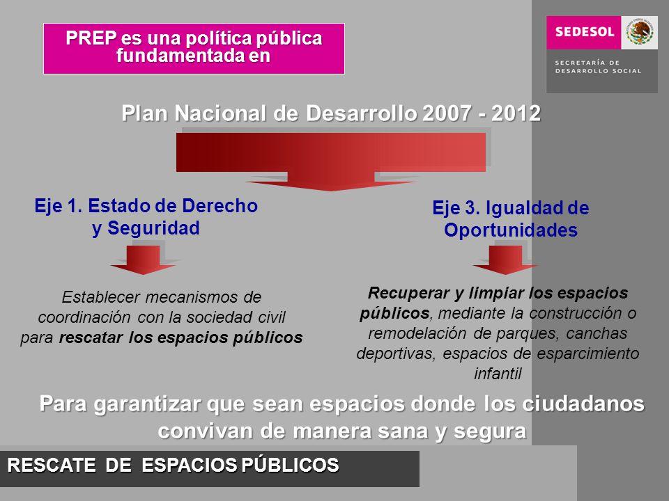 RESCATE DE ESPACIOS PÚBLICOS PREP es una política pública fundamentada en Plan Nacional de Desarrollo 2007 - 2012 Eje 1. Estado de Derecho y Seguridad