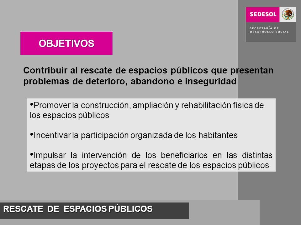 RESCATE DE ESPACIOS PÚBLICOS Contribuir al rescate de espacios públicos que presentan problemas de deterioro, abandono e inseguridad OBJETIVOS Promove