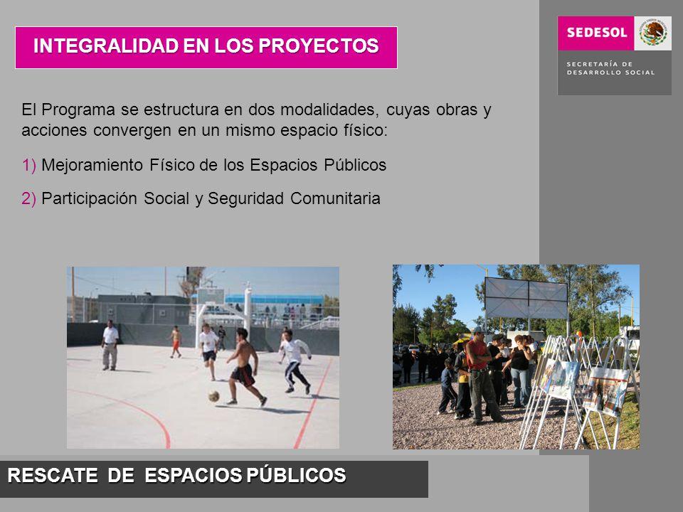 RESCATE DE ESPACIOS PÚBLICOS INTEGRALIDAD EN LOS PROYECTOS El Programa se estructura en dos modalidades, cuyas obras y acciones convergen en un mismo