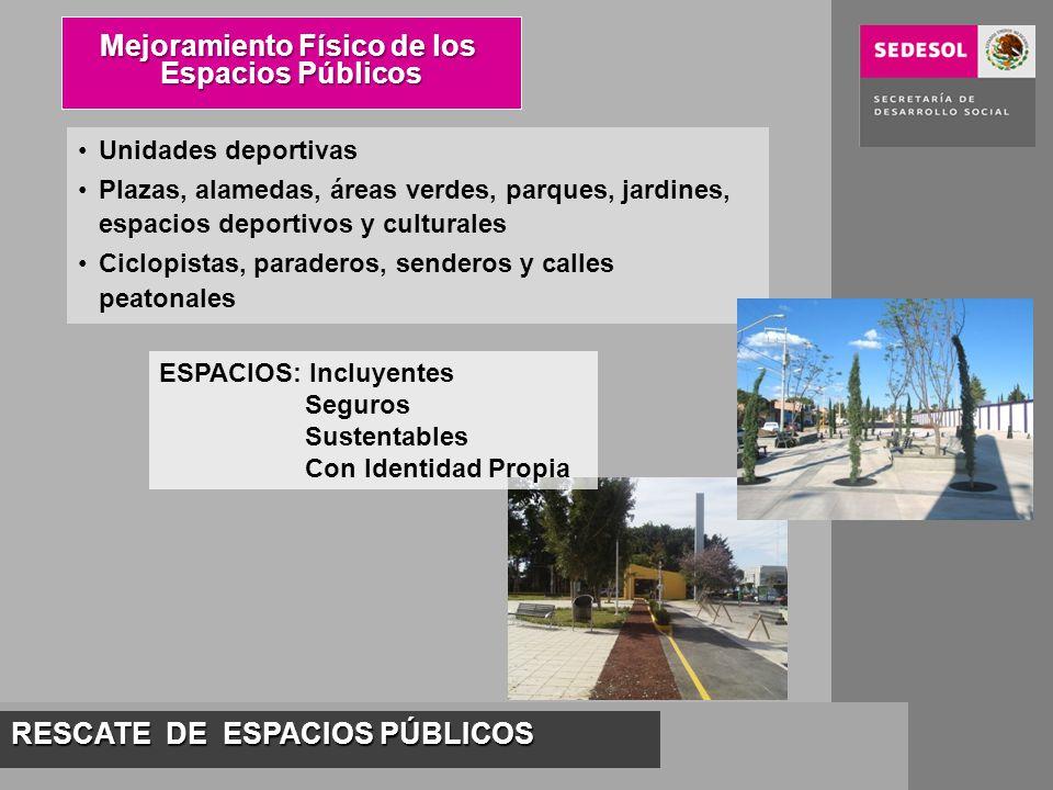 RESCATE DE ESPACIOS PÚBLICOS Mejoramiento Físico de los Espacios Públicos Unidades deportivas Plazas, alamedas, áreas verdes, parques, jardines, espac