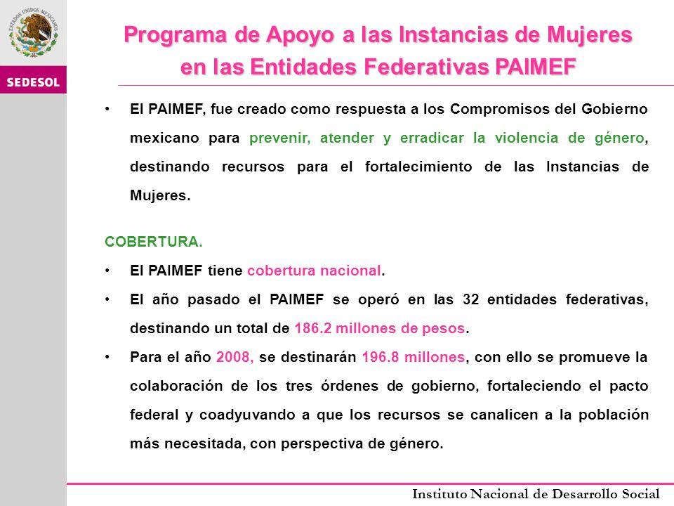 Instituto Nacional de Desarrollo Social REGLAS DE OPERACIÓN PAIMEF 2008 CARACTERÍSTICAS DE LOS APOYOS: El Programa apoyará acciones específicas que a iniciativa y a través de las IMEF, ejecuten los gobiernos estatales y se enmarquen en los objetivos del programa.