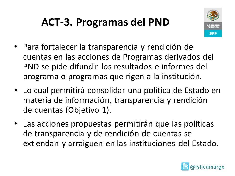 @ishcamargo ACT-3. Programas del PND Para fortalecer la transparencia y rendición de cuentas en las acciones de Programas derivados del PND se pide di