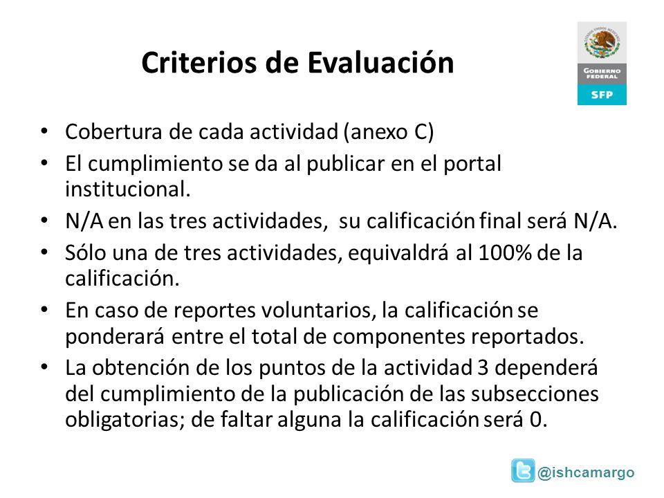 @ishcamargo Criterios de Evaluación Cobertura de cada actividad (anexo C) El cumplimiento se da al publicar en el portal institucional. N/A en las tre
