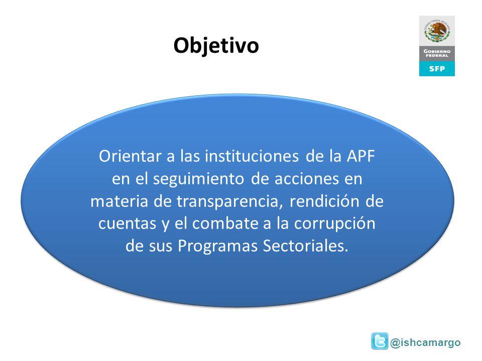 @ishcamargo Objetivo Orientar a las instituciones de la APF en el seguimiento de acciones en materia de transparencia, rendición de cuentas y el comba
