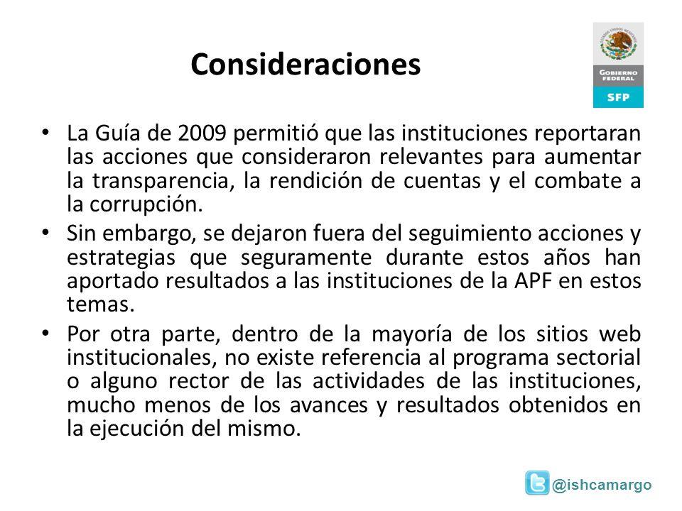 @ishcamargo Consideraciones La Guía de 2009 permitió que las instituciones reportaran las acciones que consideraron relevantes para aumentar la transp