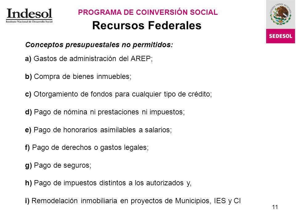 11 Recursos Federales PROGRAMA DE COINVERSIÓN SOCIAL Cédula de Dictaminación.