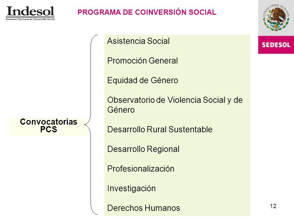 12 PROGRAMA DE COINVERSIÓN SOCIAL Asistencia Social Promoción General Equidad de Género Observatorio de Violencia Social y de Género Desarrollo Rural Sustentable Desarrollo Regional Profesionalización Investigación Derechos Humanos Convocatorias PCS