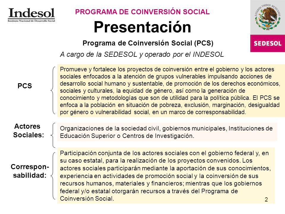 2 Presentación PROGRAMA DE COINVERSIÓN SOCIAL Programa de Coinversión Social (PCS) A cargo de la SEDESOL y operado por el INDESOL PCS Promueve y forta