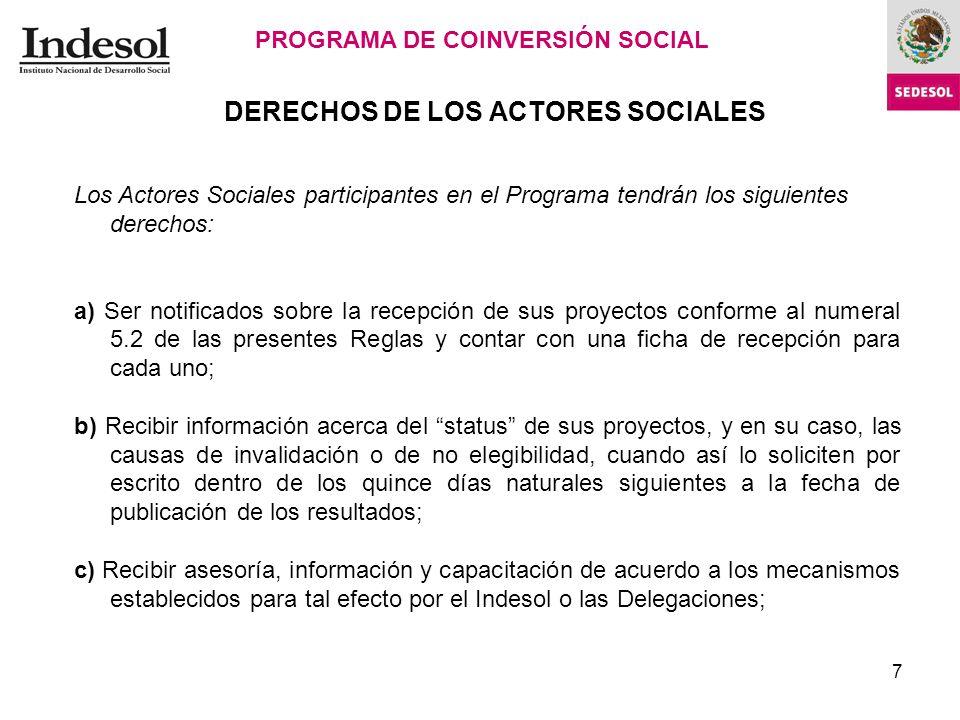 7 DERECHOS DE LOS ACTORES SOCIALES PROGRAMA DE COINVERSIÓN SOCIAL Cédula de Dictaminación.