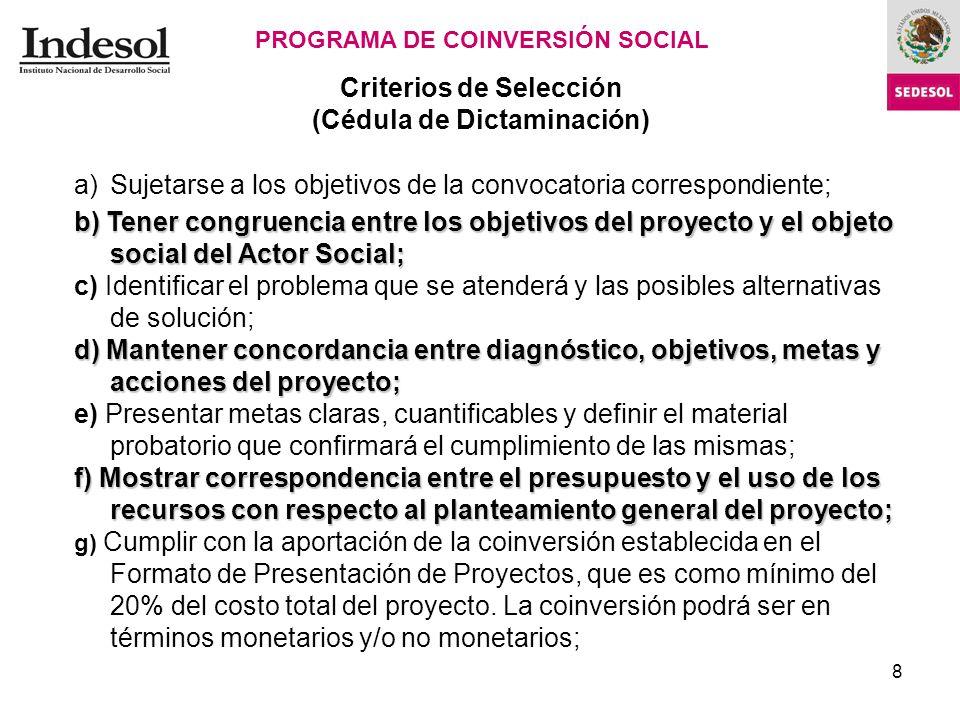 8 Criterios de Selección (Cédula de Dictaminación) PROGRAMA DE COINVERSIÓN SOCIAL Cédula de Dictaminación.