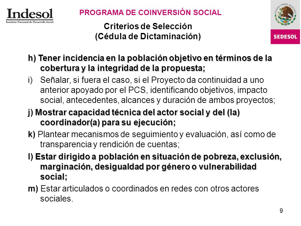10 Recursos Federales PROGRAMA DE COINVERSIÓN SOCIAL Cédula de Dictaminación.