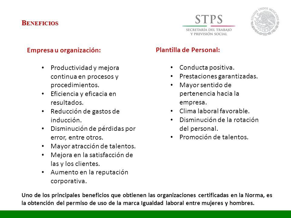 B ENEFICIOS Plantilla de Personal: Conducta positiva. Prestaciones garantizadas. Mayor sentido de pertenencia hacia la empresa. Clima laboral favorabl