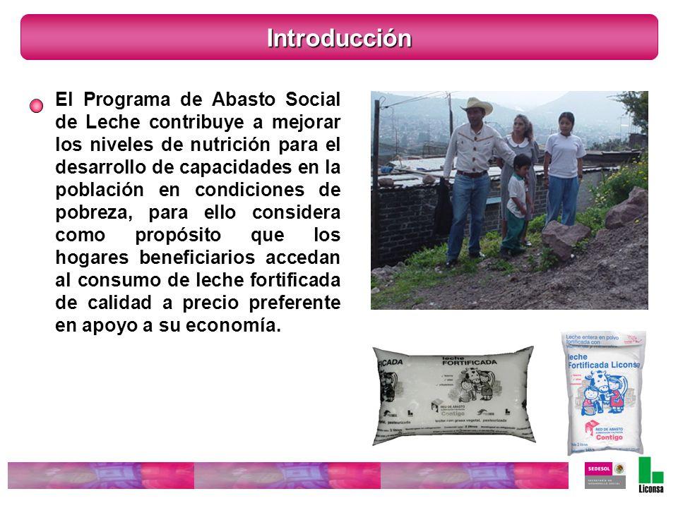 Introducción El Programa de Abasto Social de Leche contribuye a mejorar los niveles de nutrición para el desarrollo de capacidades en la población en