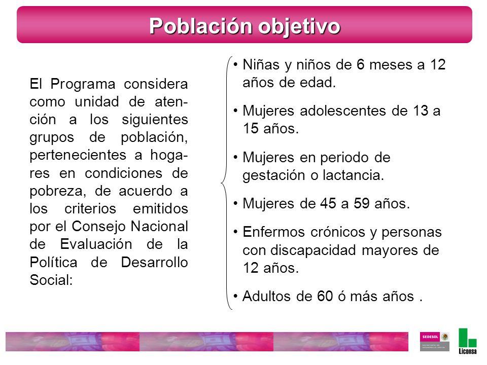 El Programa considera como unidad de aten- ción a los siguientes grupos de población, pertenecientes a hoga- res en condiciones de pobreza, de acuerdo