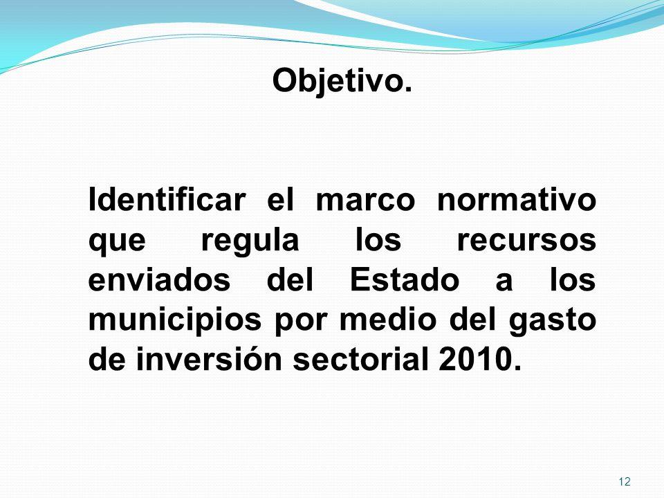 Objetivo. Identificar el marco normativo que regula los recursos enviados del Estado a los municipios por medio del gasto de inversión sectorial 2010.