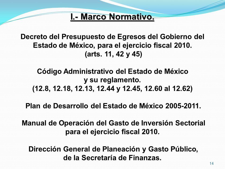 I.- Marco Normativo. Decreto del Presupuesto de Egresos del Gobierno del Estado de México, para el ejercicio fiscal 2010. (arts. 11, 42 y 45) Código A