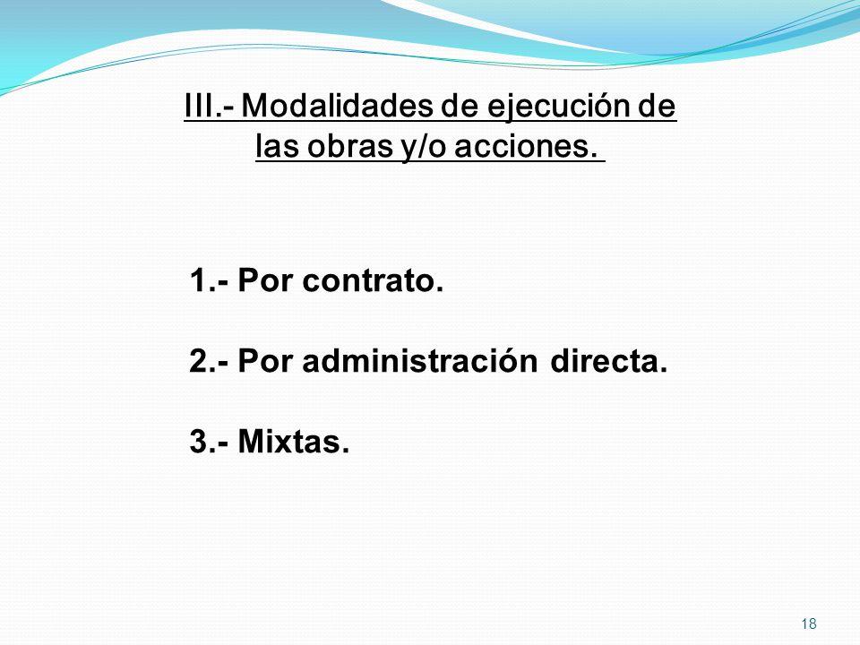 III.- Modalidades de ejecución de las obras y/o acciones. 1.- Por contrato. 2.- Por administración directa. 3.- Mixtas. 18