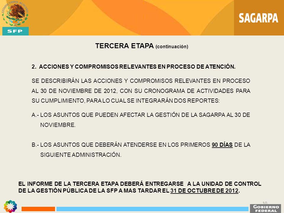 EL INFORME DE LA TERCERA ETAPA DEBERÁ ENTREGARSE A LA UNIDAD DE CONTROL DE LA GESTIÓN PÚBLICA DE LA SFP A MAS TARDAR EL 31 DE OCTUBRE DE 2012. TERCERA