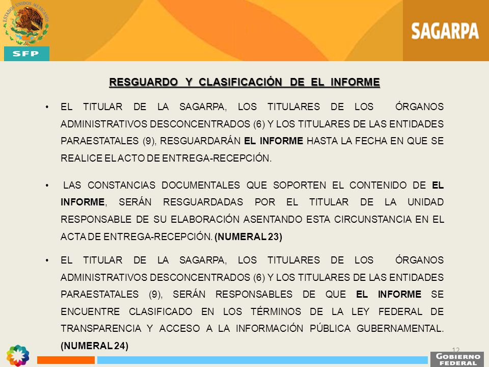 EL TITULAR DE LA SAGARPA, LOS TITULARES DE LOS ÓRGANOS ADMINISTRATIVOS DESCONCENTRADOS (6) Y LOS TITULARES DE LAS ENTIDADES PARAESTATALES (9), RESGUAR
