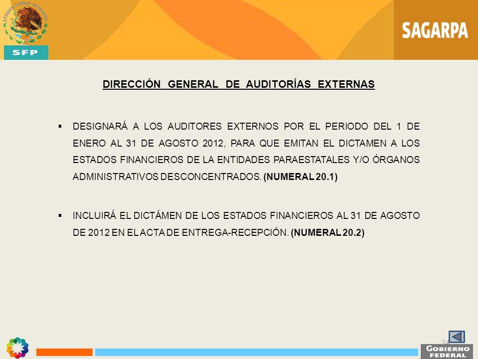 DIRECCIÓN GENERAL DE AUDITORÍAS EXTERNAS DESIGNARÁ A LOS AUDITORES EXTERNOS POR EL PERIODO DEL 1 DE ENERO AL 31 DE AGOSTO 2012, PARA QUE EMITAN EL DIC