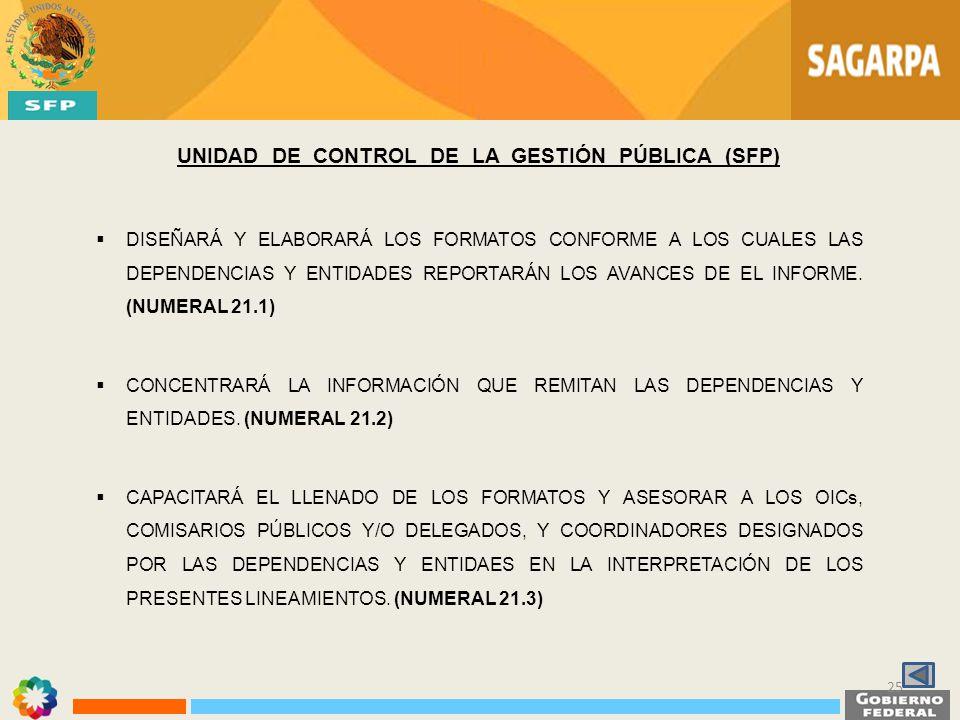 UNIDAD DE CONTROL DE LA GESTIÓN PÚBLICA (SFP) DISEÑARÁ Y ELABORARÁ LOS FORMATOS CONFORME A LOS CUALES LAS DEPENDENCIAS Y ENTIDADES REPORTARÁN LOS AVAN