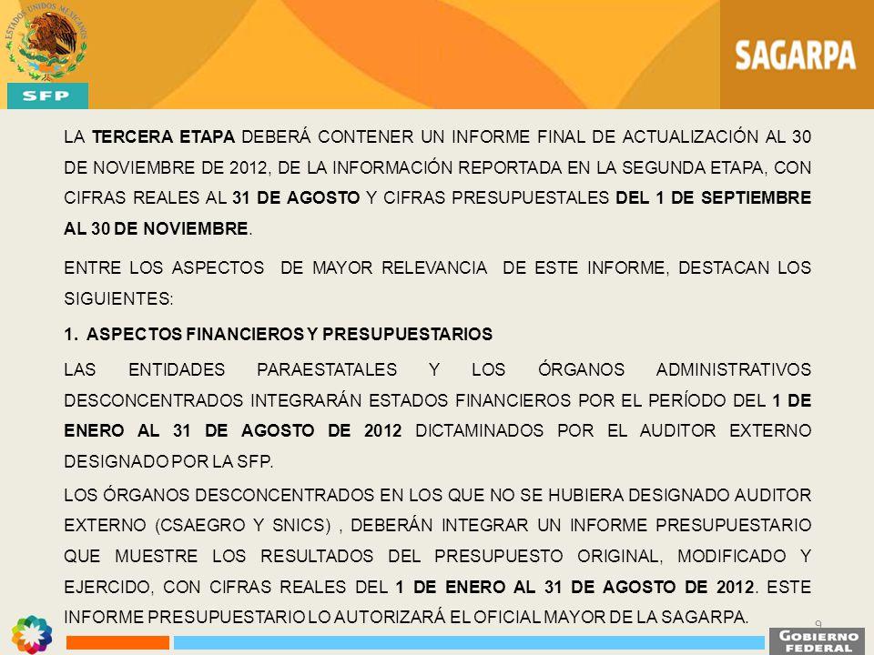 EL INFORME DE LA TERCERA ETAPA DEBERÁ ENTREGARSE A LA UNIDAD DE CONTROL DE LA GESTIÓN PÚBLICA DE LA SFP A MAS TARDAR EL 31 DE OCTUBRE DE 2012.