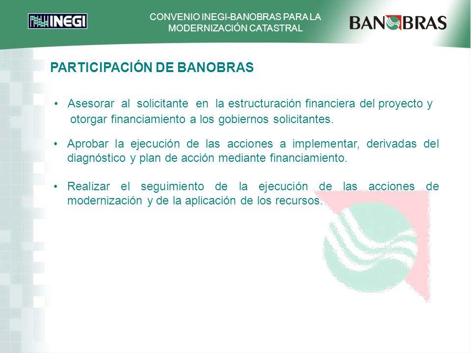 CONVENIO INEGI-BANOBRAS PARA LA MODERNIZACIÓN CATASTRAL Asesorar al solicitante en la estructuración financiera del proyecto y otorgar financiamiento a los gobiernos solicitantes.