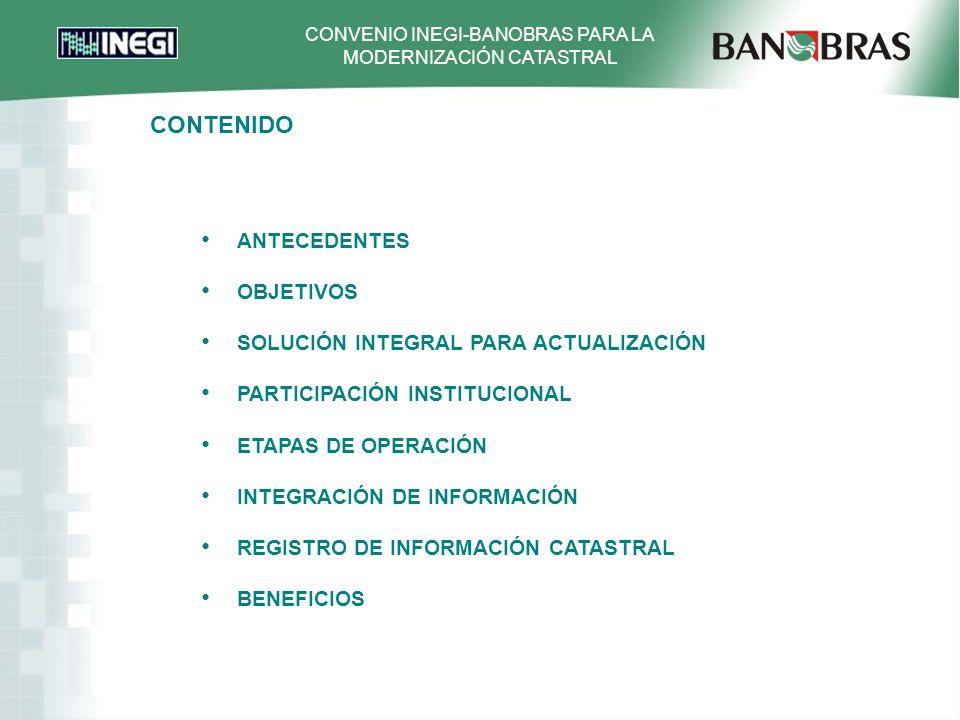 CONVENIO INEGI-BANOBRAS PARA LA MODERNIZACIÓN CATASTRAL ANTECEDENTES OBJETIVOS SOLUCIÓN INTEGRAL PARA ACTUALIZACIÓN PARTICIPACIÓN INSTITUCIONAL ETAPAS DE OPERACIÓN INTEGRACIÓN DE INFORMACIÓN REGISTRO DE INFORMACIÓN CATASTRAL BENEFICIOS CONTENIDO