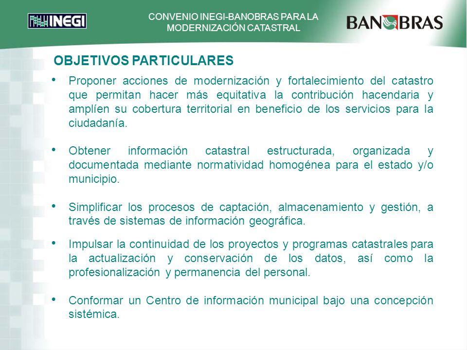 CONVENIO INEGI-BANOBRAS PARA LA MODERNIZACIÓN CATASTRAL FOTOGRAFÍA AÉREA ESCALAS 1:20 000 y 1:5,000 RED GEODÉSICA LOCAL VINCULADA A LA RED GEODÉSICA NACIONAL Y APOYO TERRESTRE LEVANTAMIENTO DE CAMPO DE FICHAS CATASTRALES CAPTURA (DIGITALIZACIÓN) DE FICHAS CATASTRALES ARCHIVO EN FORMATO RASTER Y VECTORIAL RESTITUCIÓN Y DIGITALIZACIÓN FOTOGRAMÉTRICA ESCALA 1: 5000 y 1:1,000 GENERACIÓN DE CARTOGRAFÍA ESC.