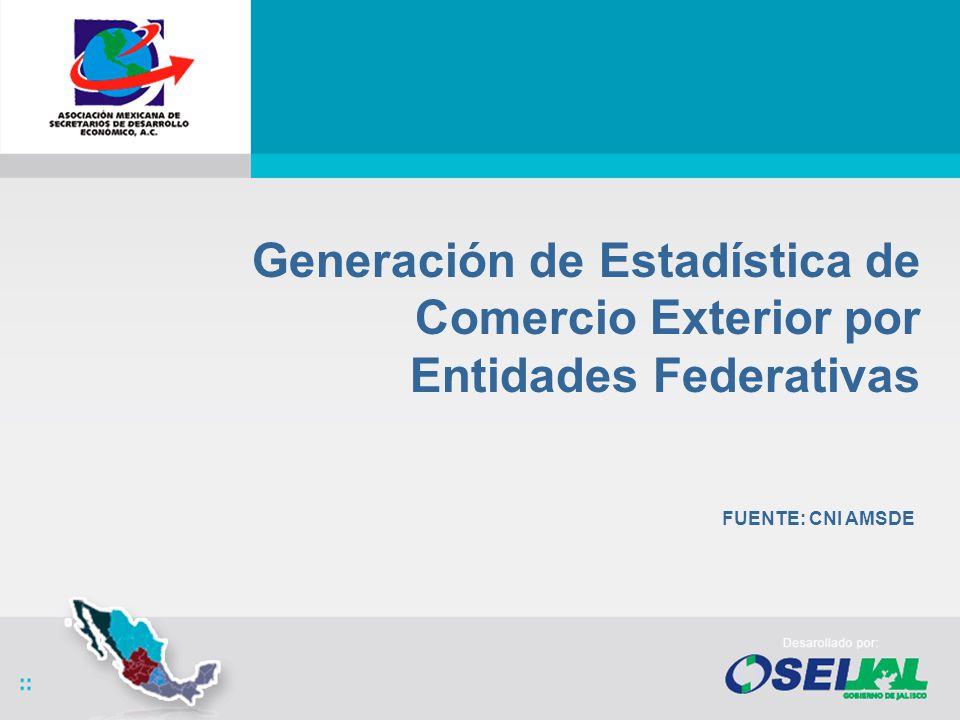 Generación de Estadística de Comercio Exterior por Entidades Federativas FUENTE: CNI AMSDE